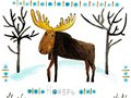 Watercolor illustration in with a silhouette of a moose and a northern pattern.