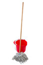 Mop with red bucket Royalty Free Stock Photo