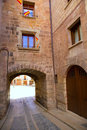 Mora de rubielos in teruel aragon stonewall village masonry arches maestrazgo spain Royalty Free Stock Image
