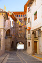 Mora de rubielos in teruel aragon stonewall village masonry arches maestrazgo spain Stock Images