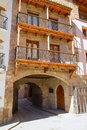 Mora de rubielos in teruel aragon stonewall village masonry arches maestrazgo spain Stock Photography