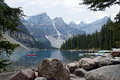 Moraine lake banff national park alberta canada kayaks on Stock Photo