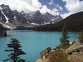 Moraine lake banff national park canada turquoise glacial melt water of in the rocky mountains in british columbia western Stock Photos