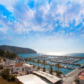 Moraira alicante marina nautic port high in mediterranean angle view Stock Photos
