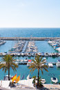 Moraira alicante marina nautic port high in mediterranean angle view Royalty Free Stock Image