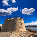 Moraira castle beach at mediterranean alicante in teulada of spain Royalty Free Stock Images