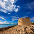 Moraira castle beach at mediterranean alicante in teulada of spain Royalty Free Stock Photo