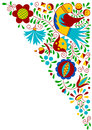 Moravian folk bird ornament Royalty Free Stock Photo