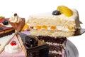 Morceau de gâteau avec des fruits sur l omoplate Photo libre de droits