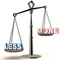 Less is more concept word weighing down and rising up the weighing scale Royalty Free Stock Images