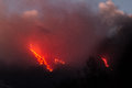 More explosions in the night and lava flow Stock Photos