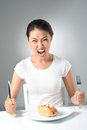 More food vertical image of a crazy girl demanding fast Stock Photography