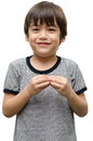 More kid hand sign language on white background Stock Photo
