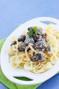 Morels in sour cream pasta with braised sauce Stock Photos