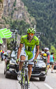 Moreno moser climbing alpe d dhuez huez france july the italian cyclist from cannondale team the difficult road to huez during Stock Image