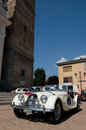 Morgan roadster at circuito di zingonia the arrival of a white in the main place of verdello during the revocation of the race the Royalty Free Stock Photo