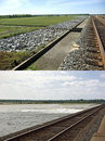Morganza Spillway, Before and After Royalty Free Stock Photography