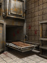 Morgue tray with blood