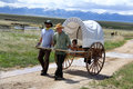 Mormon pioneer handcart trek this is an image of a reenactment held at martin s cove near lander wyoming Stock Image