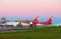 Morning airport novosibirsk russia september nordwind airlines airplanes before at the airfield spotting at tolmachevo sep Royalty Free Stock Photos