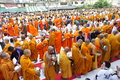 Morning alms-offering to 12600 Buddhist monks Stock Photos
