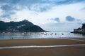 Morning at Biscay bay coast, San Sebastian, Spain. Royalty Free Stock Photo