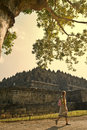 Morning of borobudur temple tourist passing by at buddhist at magelang indonesia Stock Photo