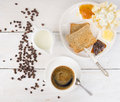 Morning breakfast with coffee top view on white wooden table Stock Photos