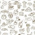 Morning breakfast doodle pattern. sketch