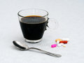 Morning breakfast medication, medicine. Health concept. Royalty Free Stock Photo