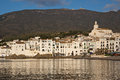 Morning in cadaques spain early sunlight reflecting off the white picturesque buildings of Royalty Free Stock Photos
