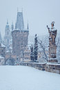 Morning at charles bridge in winter prague czech republic Royalty Free Stock Photo