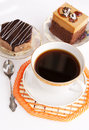Morning coffee and biscuit fruitcake Royalty Free Stock Photos