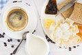 Morning coffee in white cup and breakfast with toast cheese marmalade Royalty Free Stock Photos