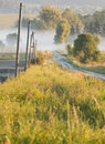 Morning in the countryside field path vertical photo taken at dawn autumn village tarnawatka poland viewing point across Stock Photo