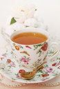Morning cuppa spring still life tea with dessert Stock Photo