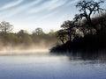 Morning fog on lake Royalty Free Stock Photo