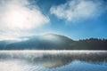 Morning fog on the lake sunrise shot Royalty Free Stock Image