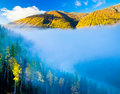 Morning fog over Moon Bay, Kanas, Xinjiang China Royalty Free Stock Photos