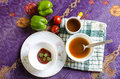 Morning healthy breakfast tomato sauce tea soup capsicum Royalty Free Stock Photo