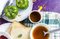 Morning healthy breakfast top view bread tea soup capsicum Royalty Free Stock Photo