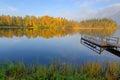 Morning lake reflections idyllic landscape in autumn season Stock Images