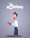 Daily Morning Life. Yawning Sleepy Man With Coffee