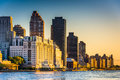 Morning light on the Manhattan skyline, seen from Roosevelt Isla Royalty Free Stock Photo