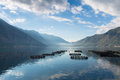 Morning mist on kotor bay cage aquaculture boka kotorska in montenegro Royalty Free Stock Photography