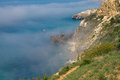 Morning mist on the sea coast fiolent cape crimea Stock Photography