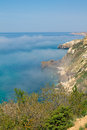Morning mist on the sea coast fiolent cape crimea Stock Photo