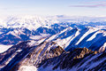 Morning panorama of austrian alps from the top of kaprun glacier landscape in sun viewed in Royalty Free Stock Images