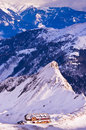 Morning panorama of austrian alps from the top of kaprun glacier landscape in sun viewed in austria Royalty Free Stock Photography