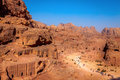 Morning in petra view of desert and ancient tombs carved the rock jordan Stock Photography